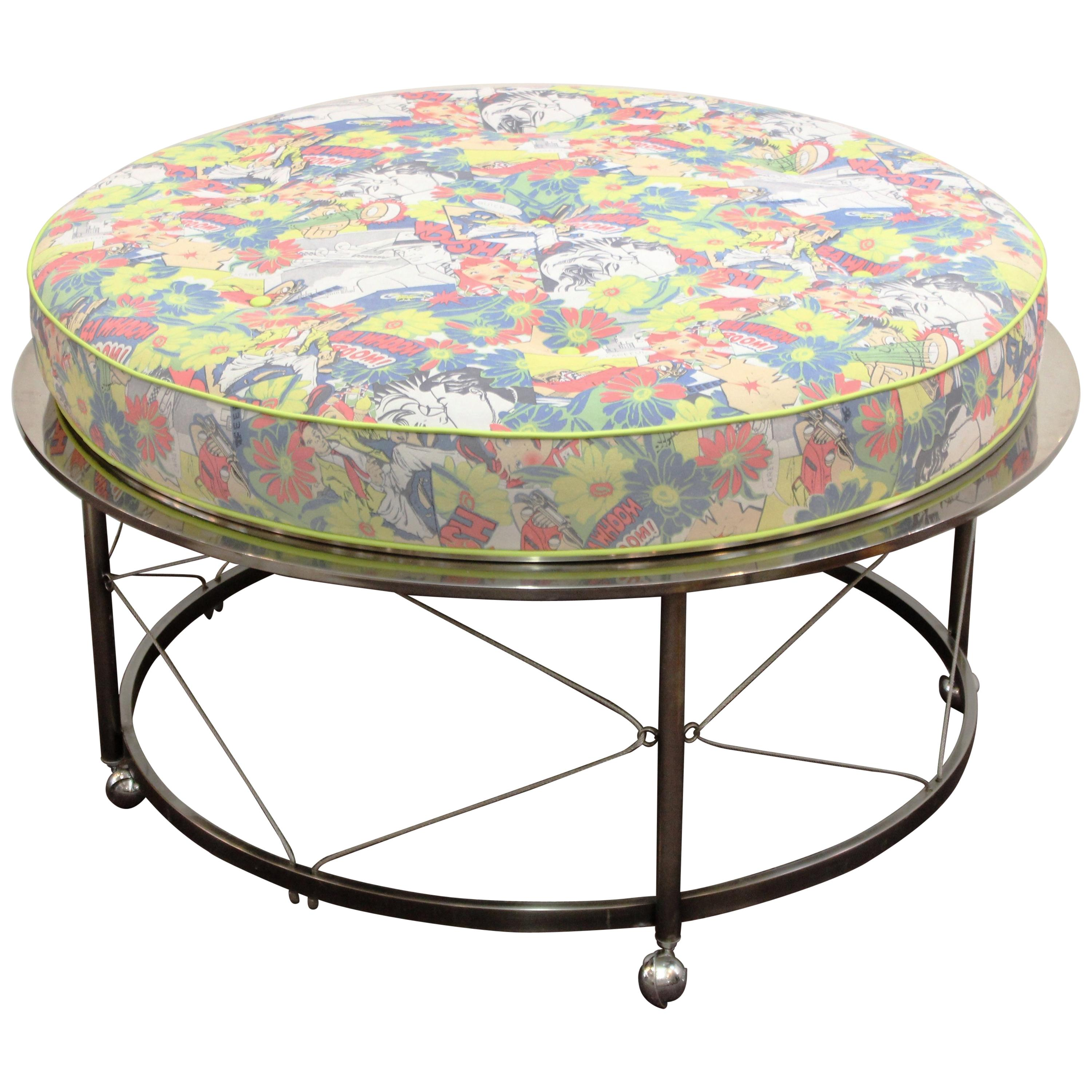 Ottoman Upholstery Midcentury Ottoman With Chrome Frame And Pop Art Style Upholstery