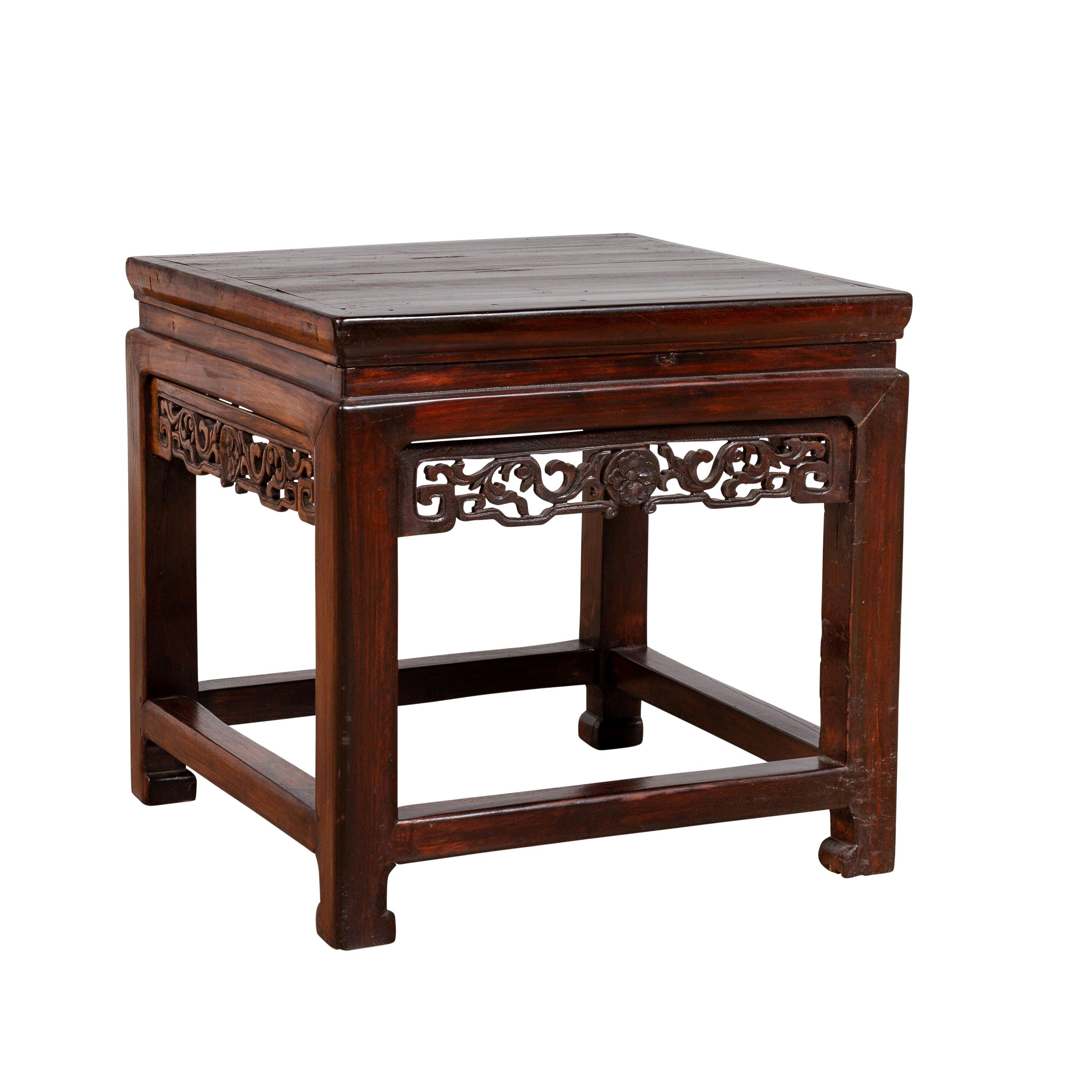 Dark Wood Furniture Chinese Vintage Side Table With Dark Wood Patina And Hand Carved Foliage Décor