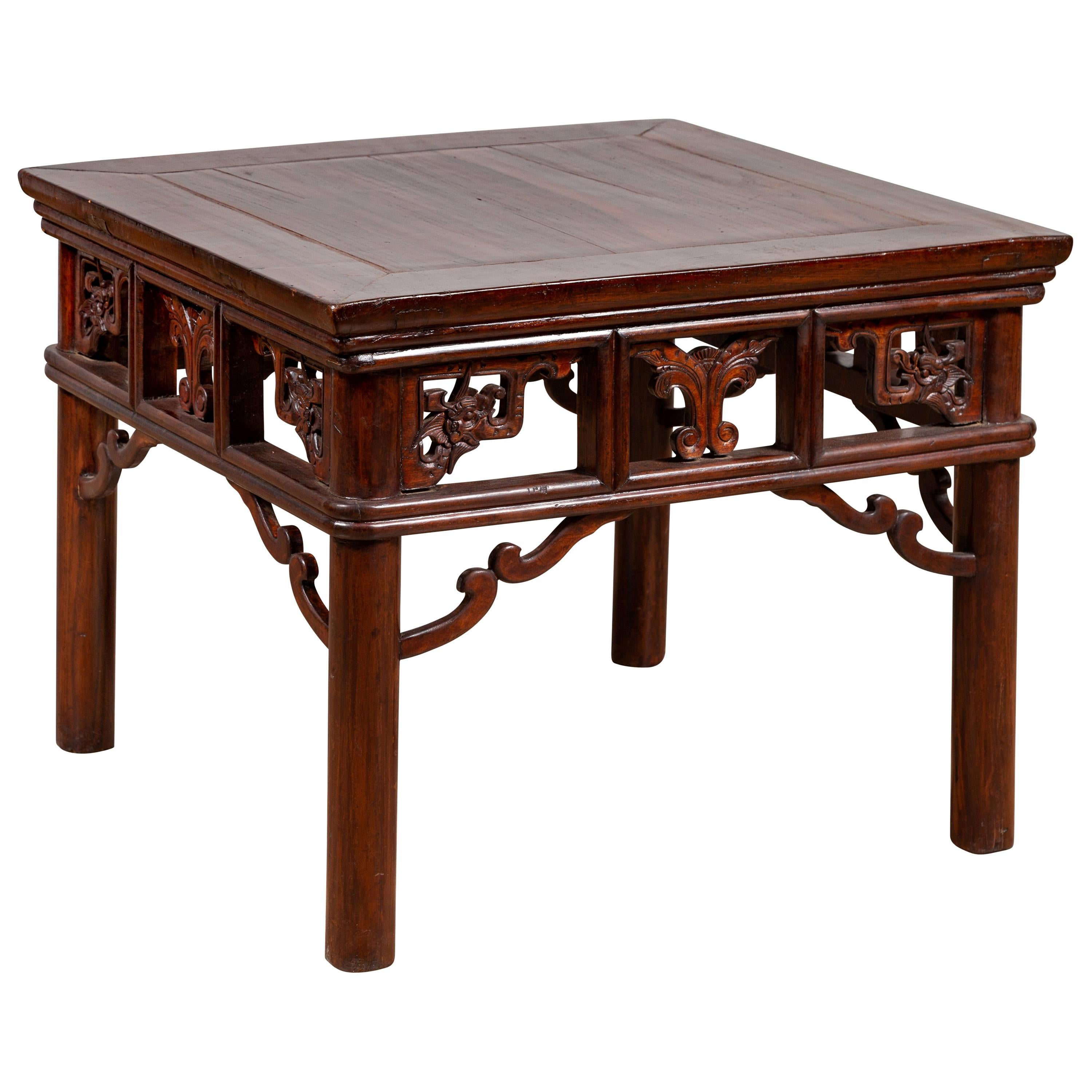 Dark Wood Furniture Chinese Antique Side Table With Open Fretwork Design And Dark Wood Patina