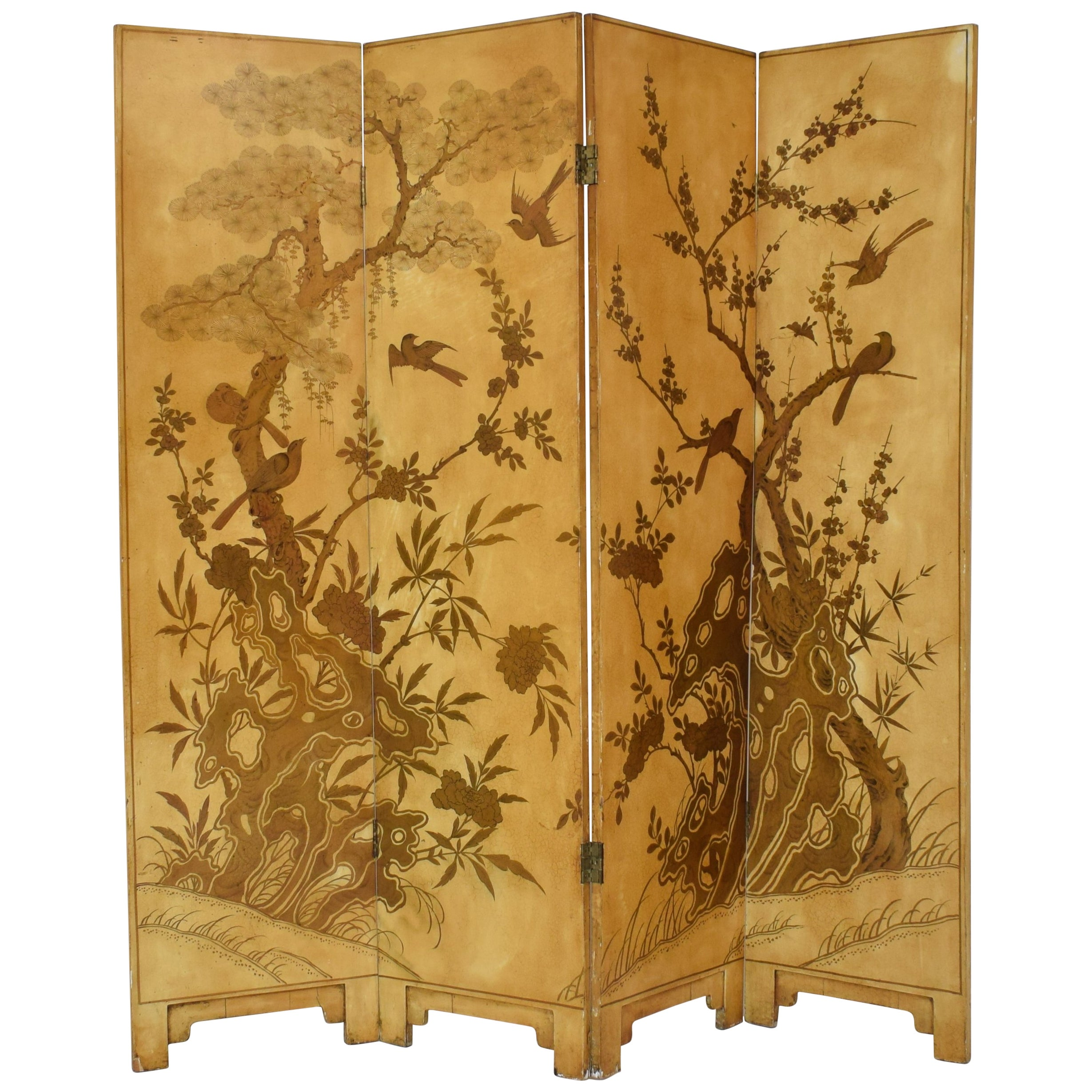 Paravent Original 19th Century French Chinoiserie Lacquer Four Panel Screen Paravent 1890s