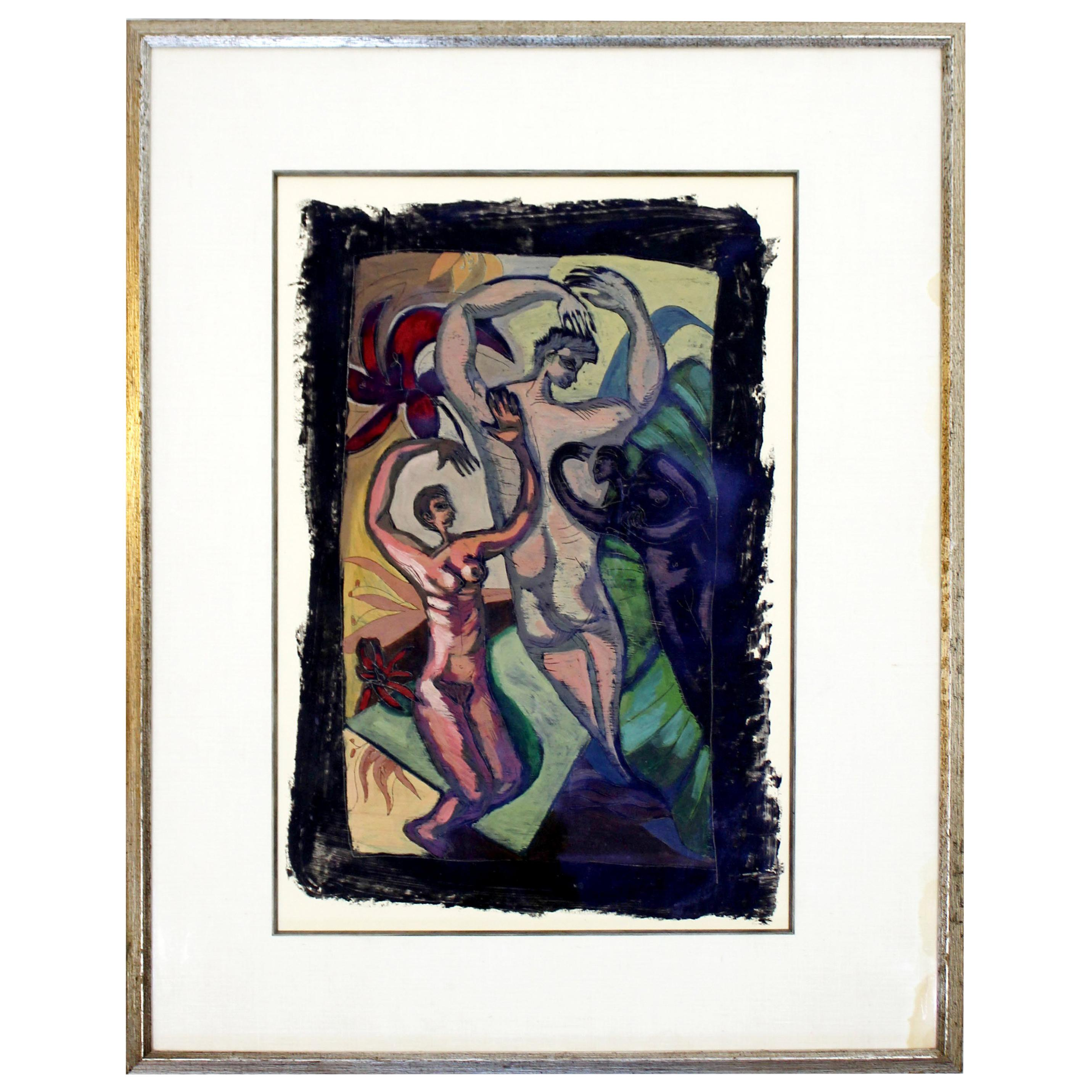 Arte Wayland Ma George Dergalis Mixed Media Matted And Framed 1980