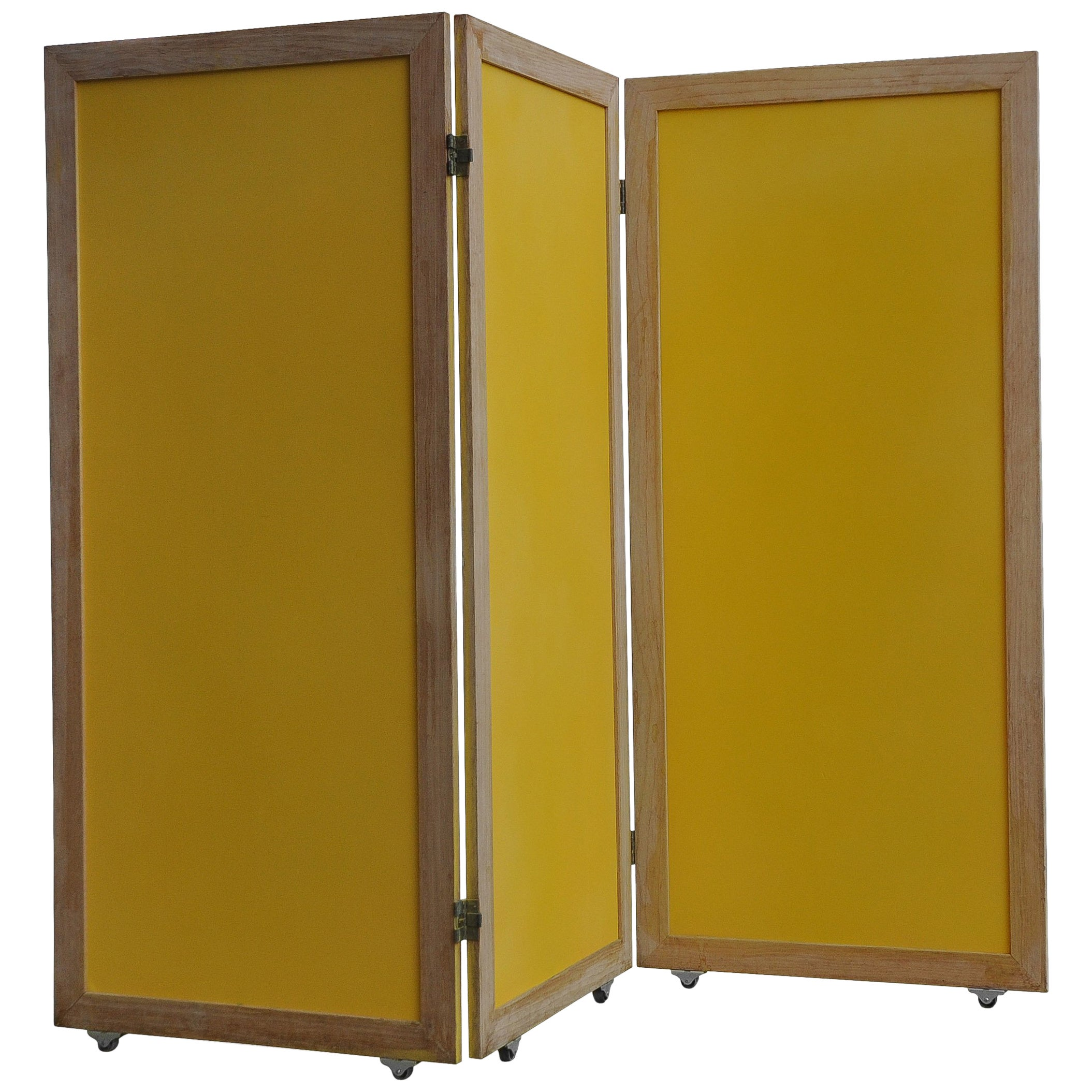 Paravent Rattan Yellow Mid Century Modern Paravent Folding Screen Of Teak Brass Pavatex
