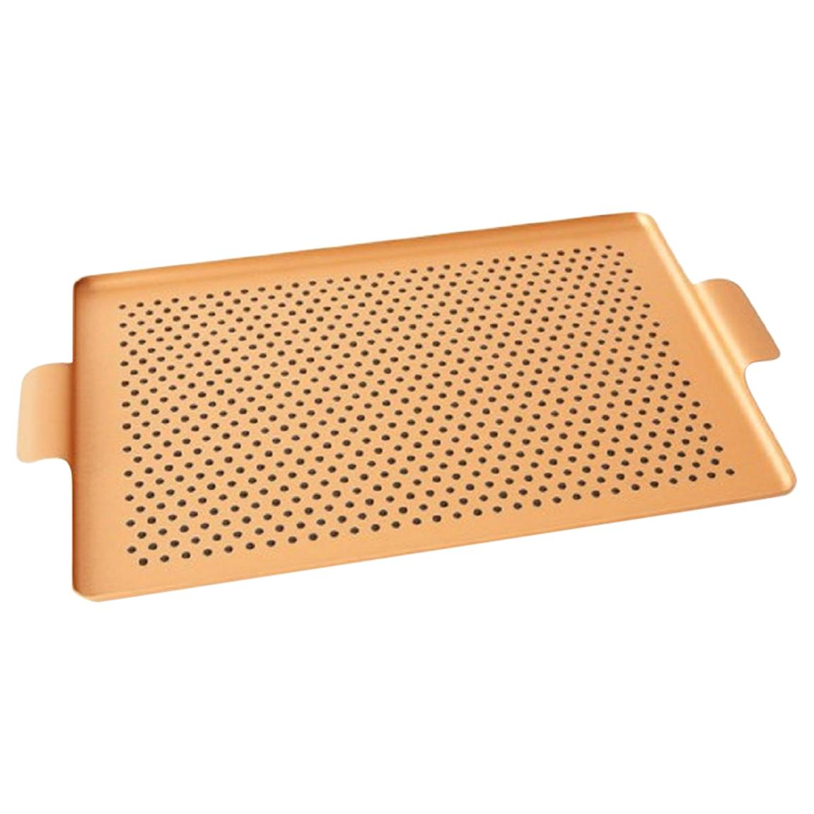 Gold Serving Tray Kaymet Serving Tray Blush Gold Anodized Aluminum Silicone Rubber Grip