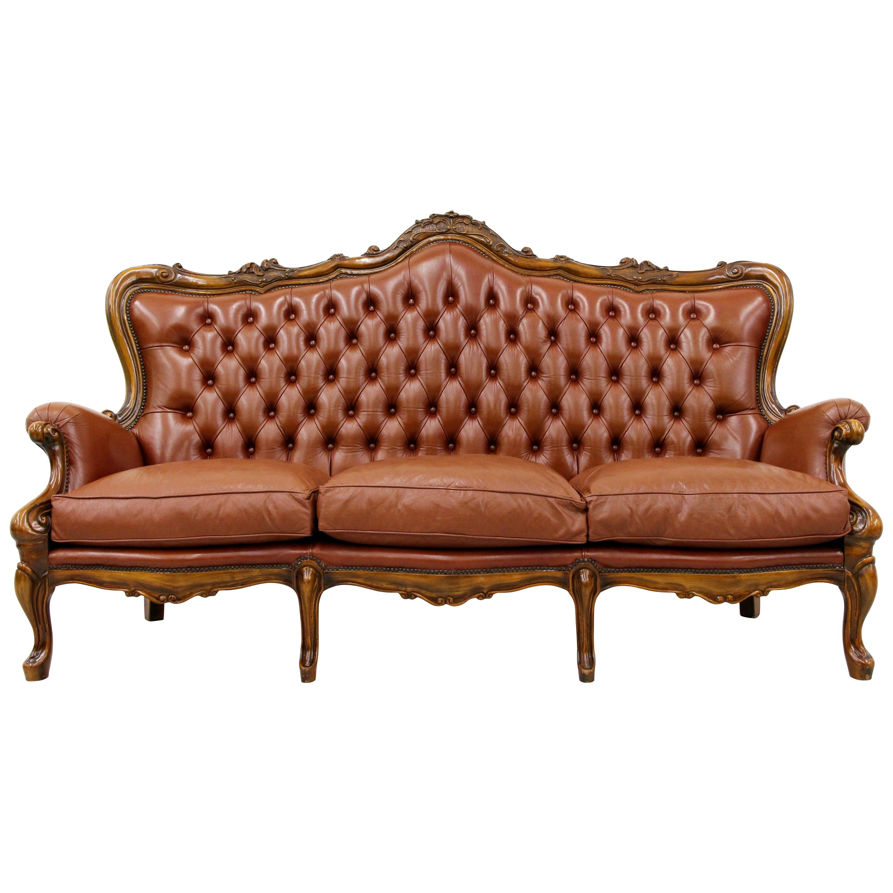 Vintage Couch Chippendale Chesterfield Sofa Leather Antique Vintage Couch English