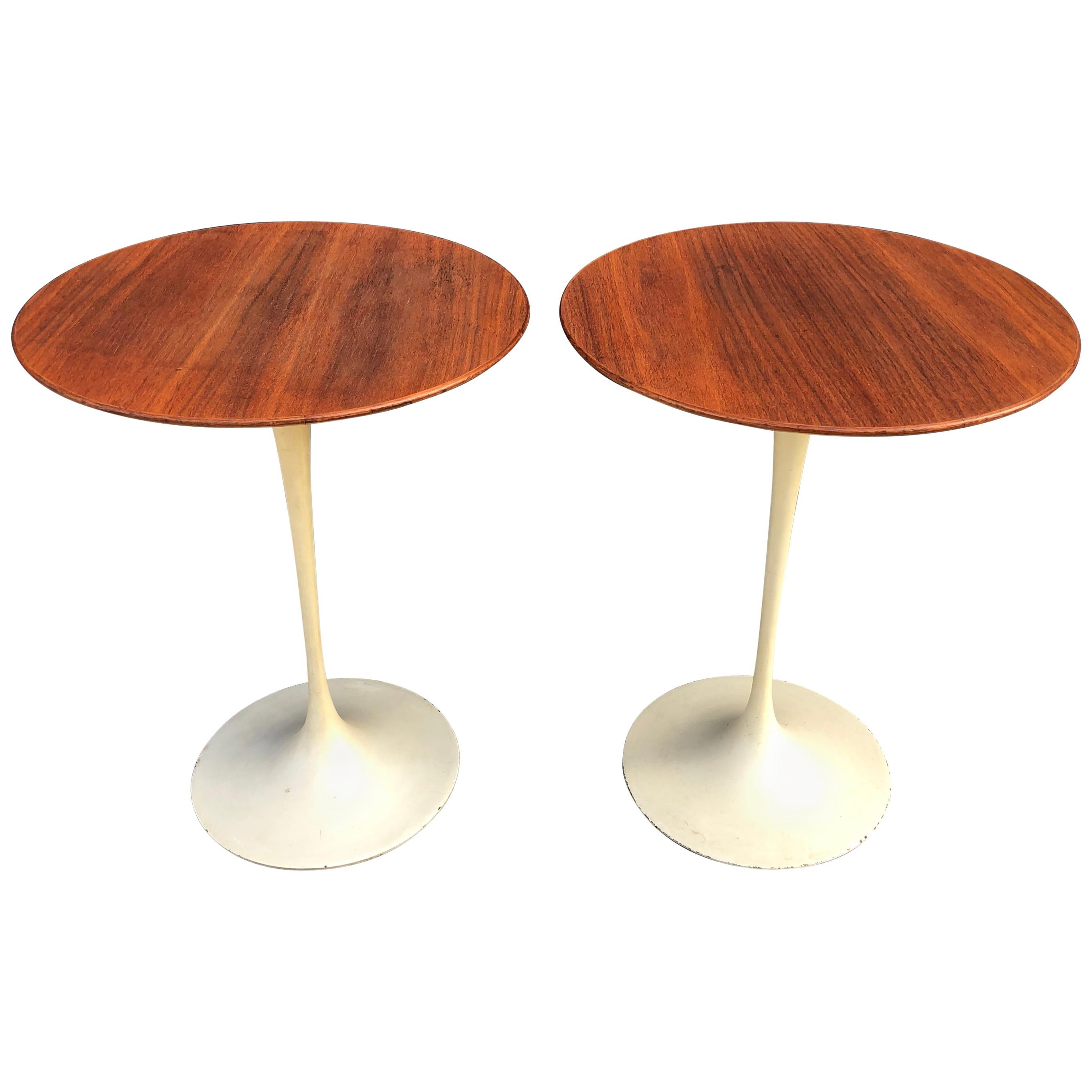 Tables Knoll Exquisite Eero Saarinen For Knoll Tulip Side Tables In Walnut