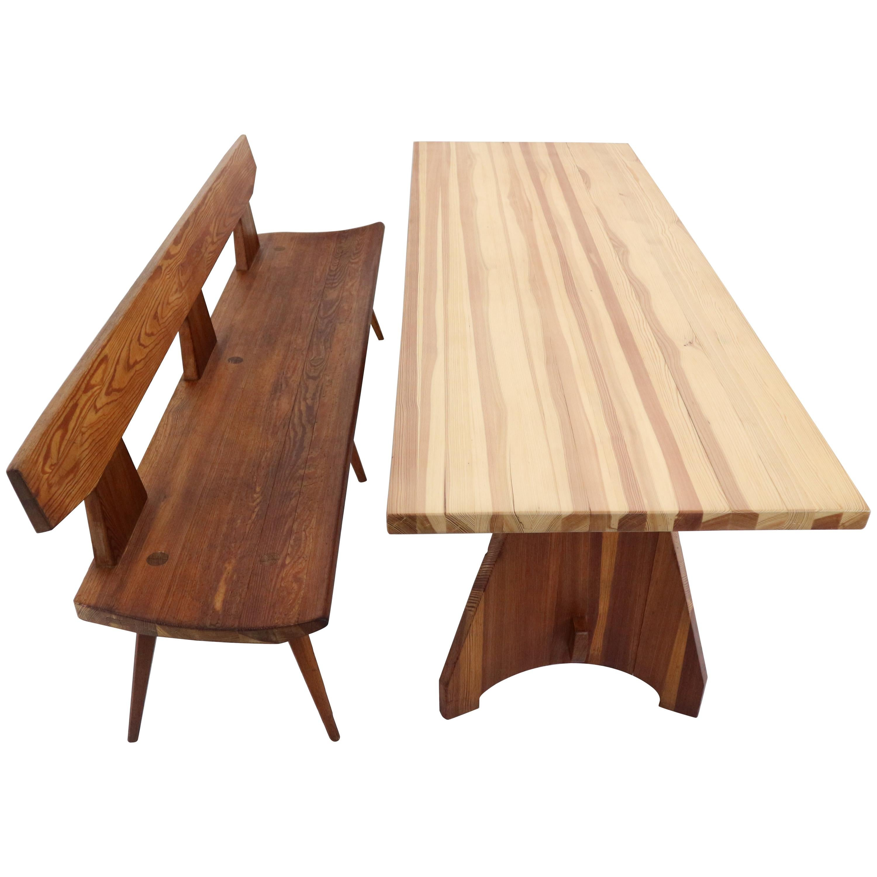 Wooden Bench Table Jacob Kielland Brandt Bench And Table Handcrafted For Christiansen 1960s
