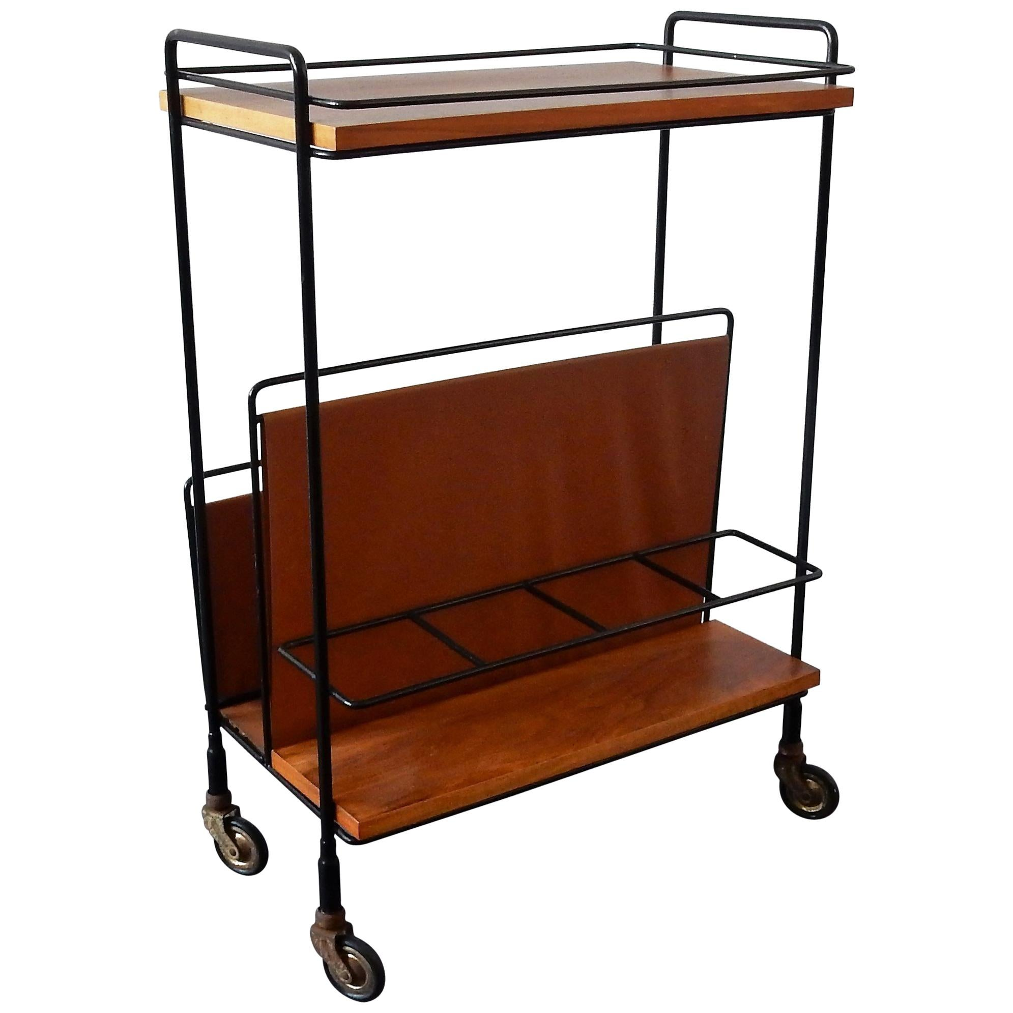 A Frame Trolley Vintage Bar Cart Or Serving Trolley With Magazine Rack 1960s