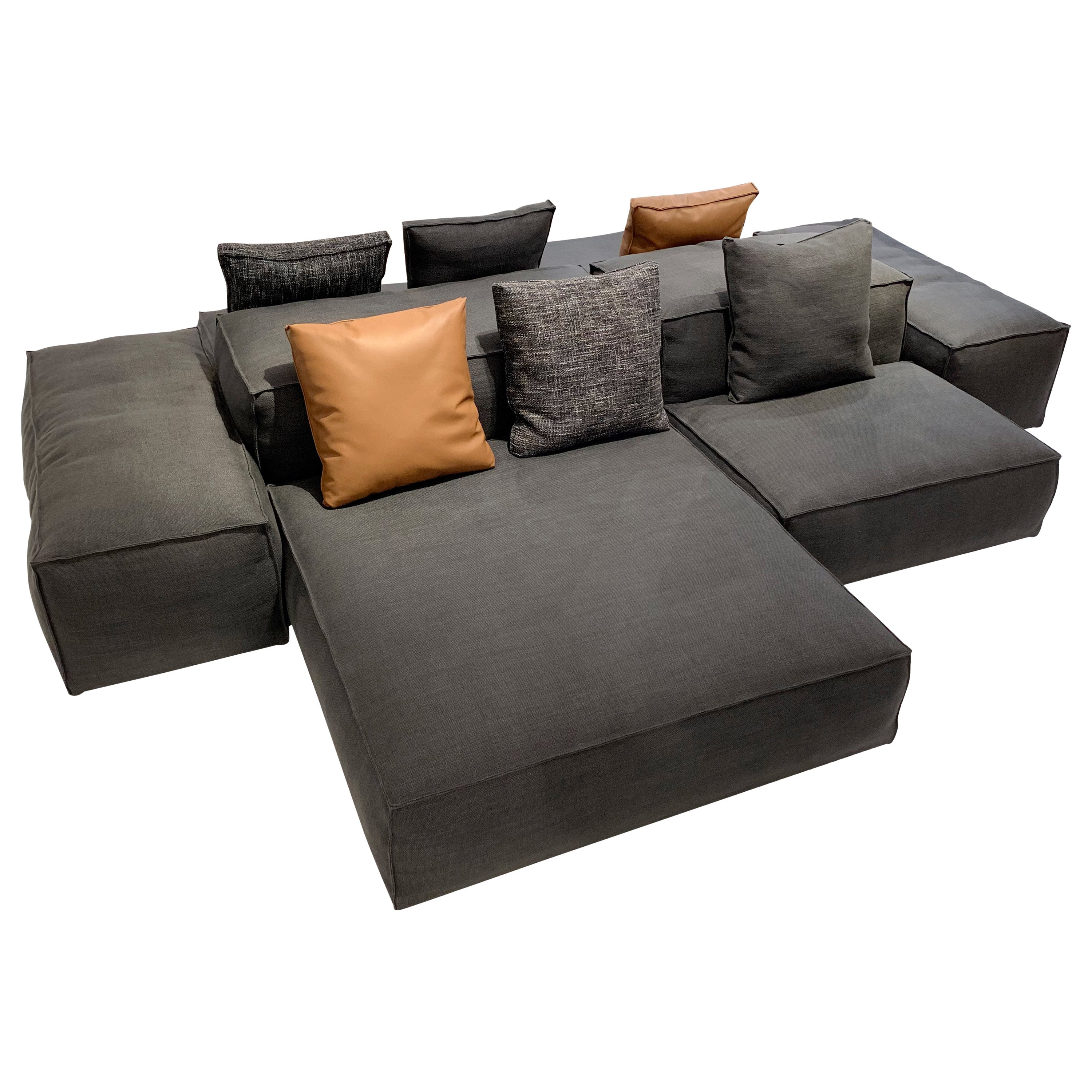 Piero Lissoni Modular Sofa Extrasoft 8 Piece Modular Sofa In Gray Fabric By Piero Lissoni And Living Divani