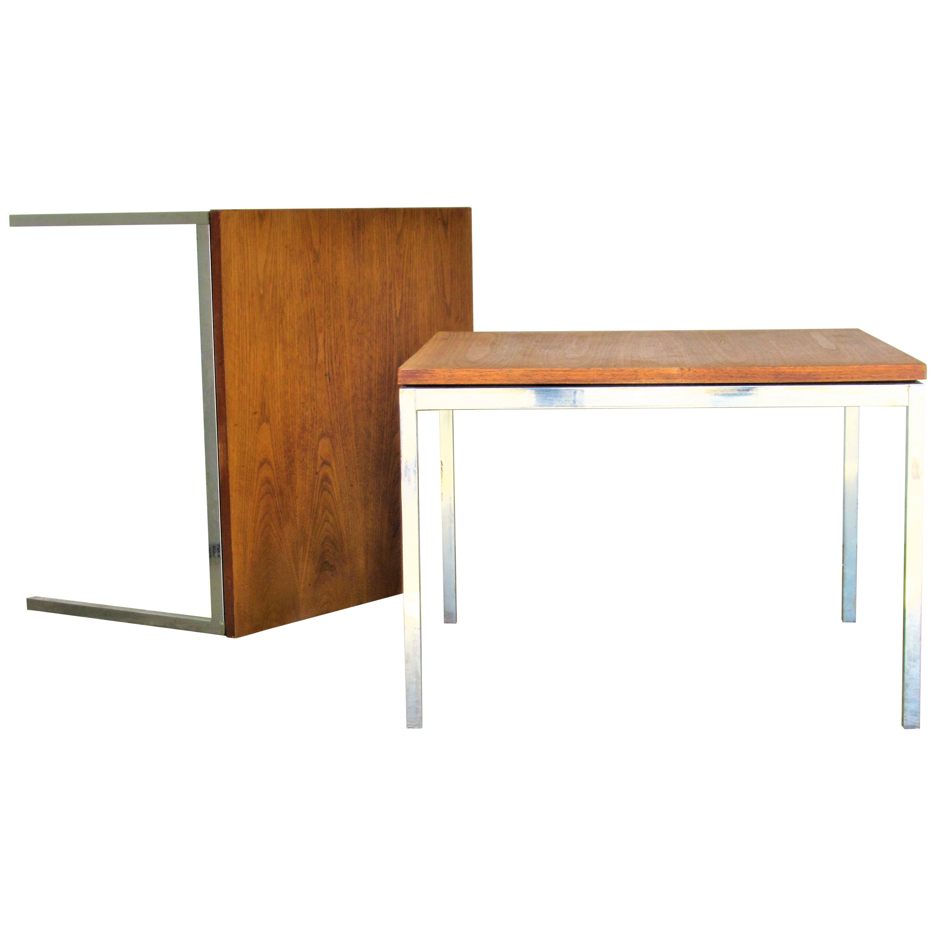Tables Knoll Pair Of Steel And Walnut Tables By Florence Knoll
