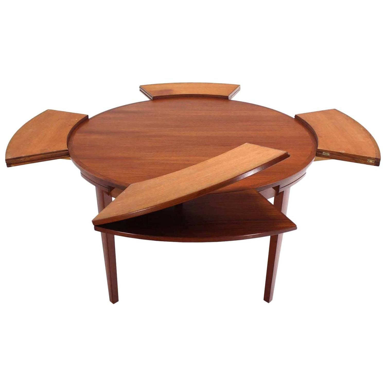 Expanding Round Dining Table Rare Danish Modern Teak Round Expandable Top Dining Table