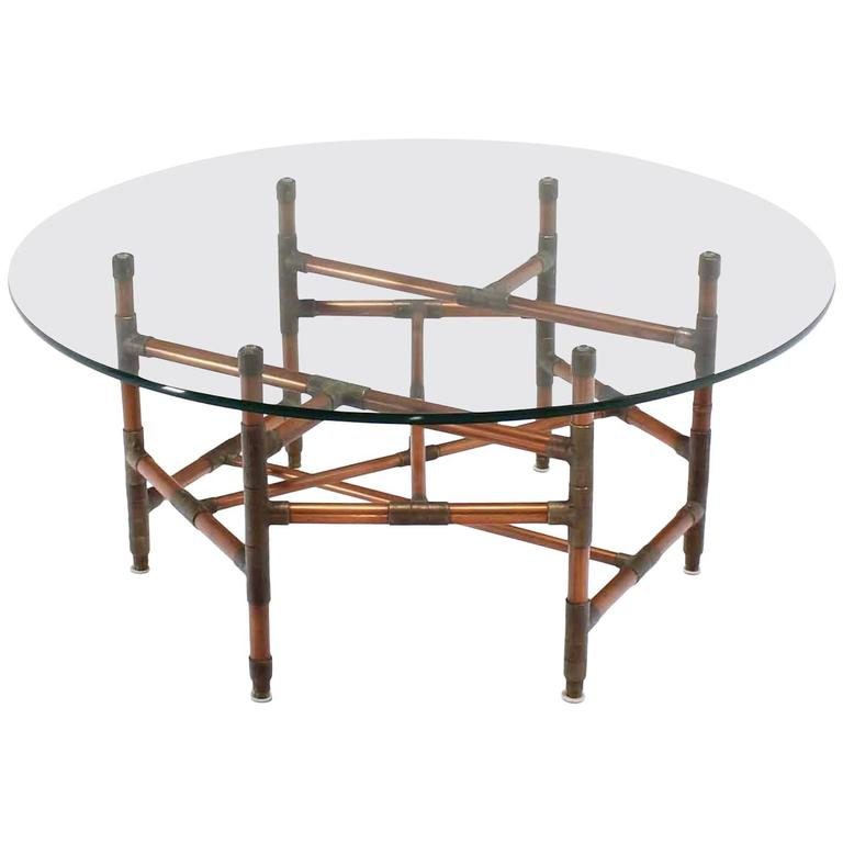 Copper Pipe and Fitting Sculpture Base Round Glass Top