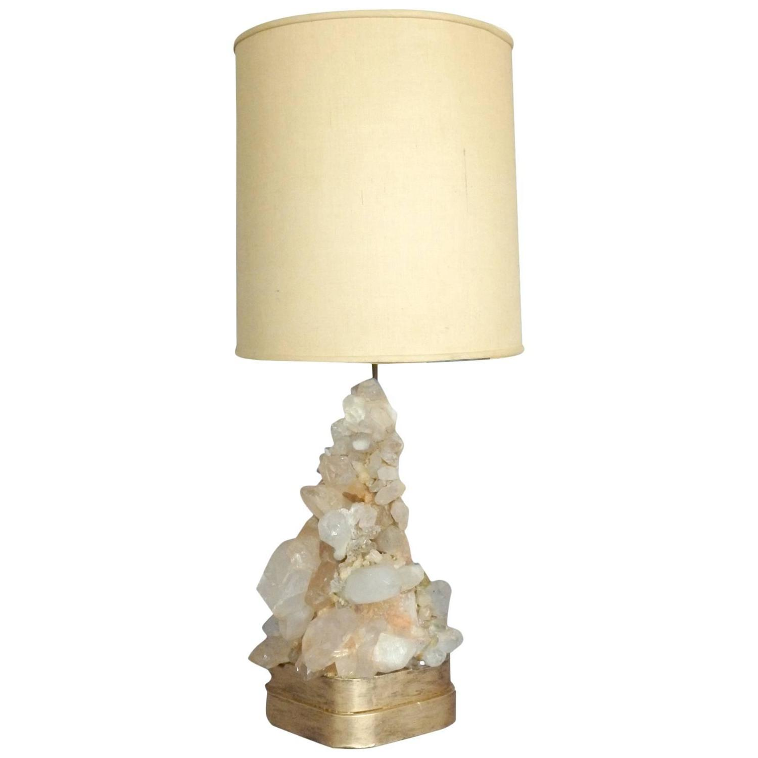 Crystal Stone Lamp Carole Stupell Rock Quartz Crystal Table Lamp At 1stdibs