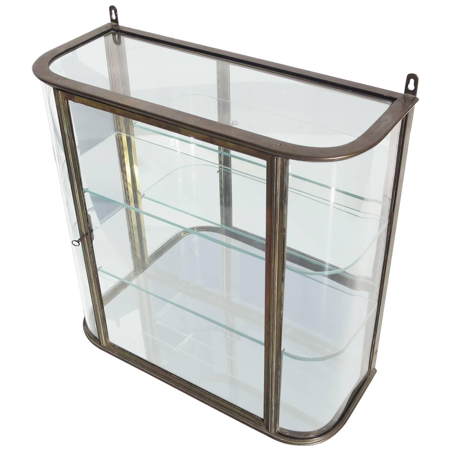 Glass Vitrine Bronze And Curved Glass Wall Mounted Vitrine At 1stdibs