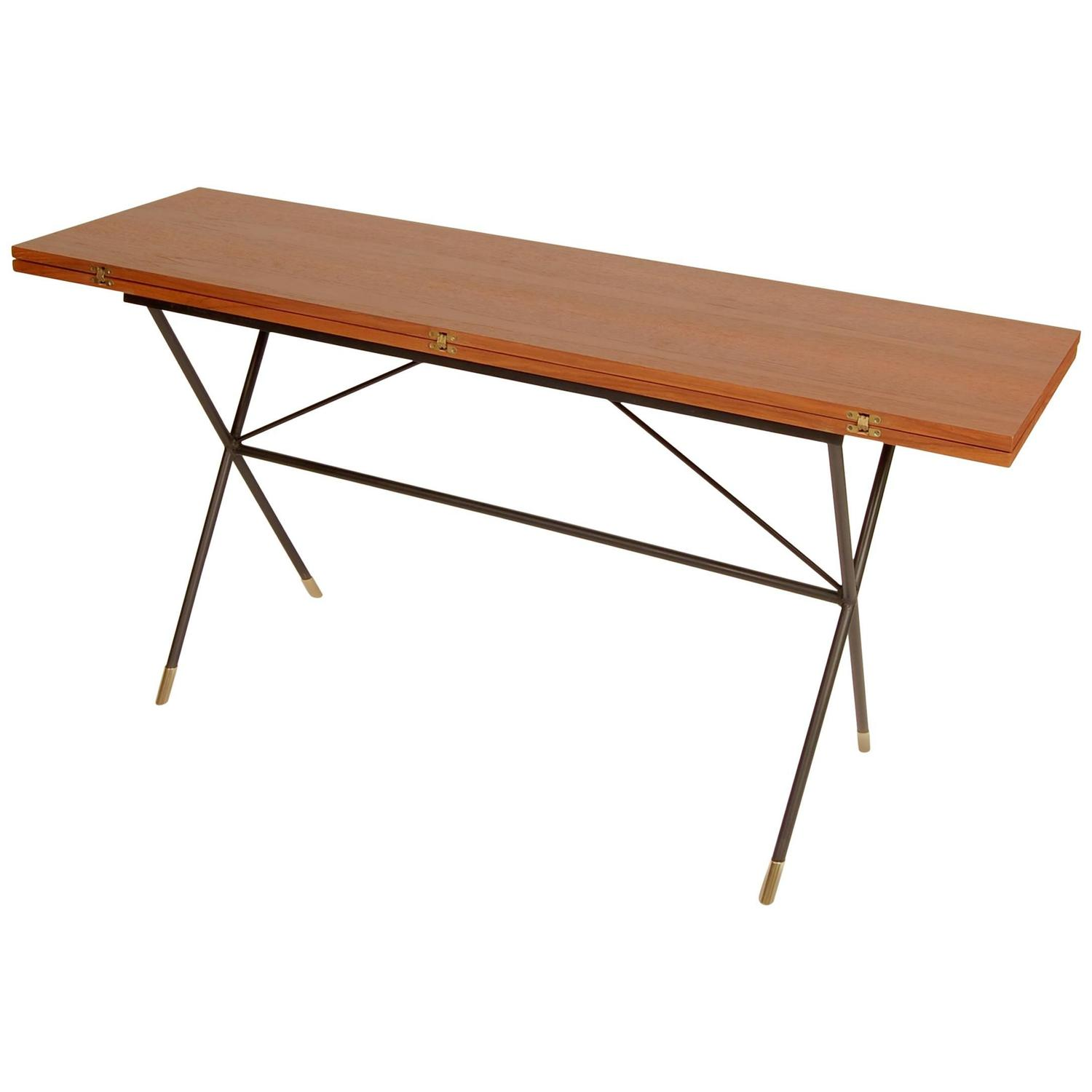 Dining Table Console X Base Iron And Teak Flip Top Console Dining Table At 1stdibs