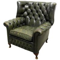 Green Tufted Leather Wingback Chair For Sale at 1stdibs