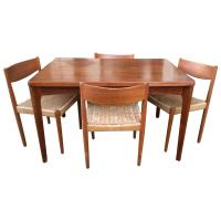 Danish Modern Extendable Teak Dining Table with Woven ...