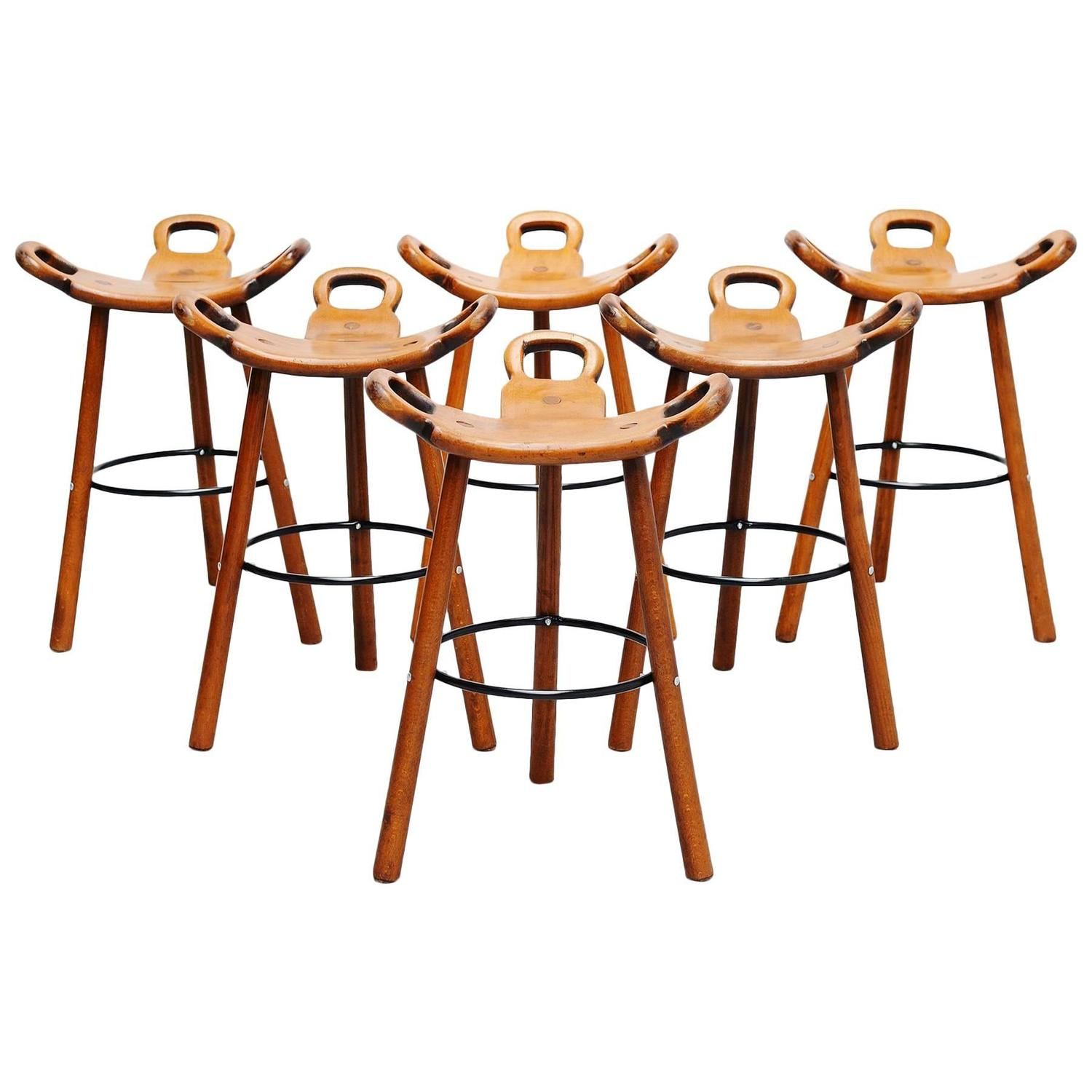 Swedish Bar Stools Carl Malmsten Attributed Brutalist Bar Stools Sweden