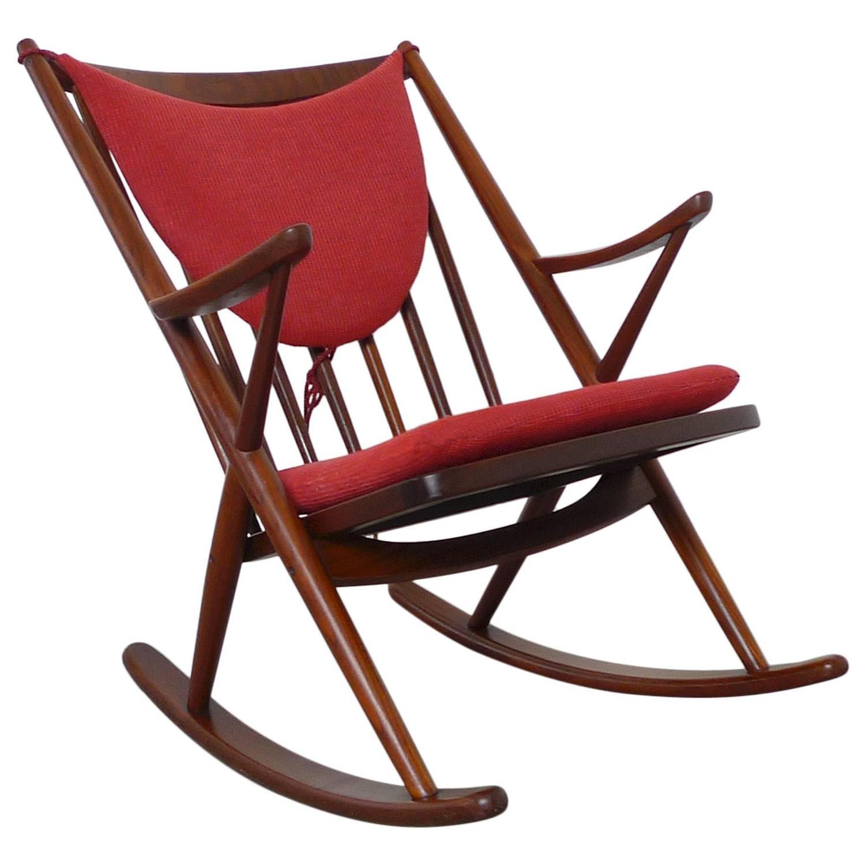 Teak rocking chair by frank reenskaug for bramin denmark 1958 at 1stdibs