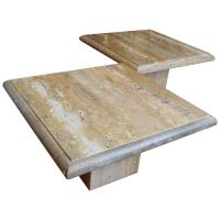 Pair of Monumental Square Travertine Coffee Tables For ...