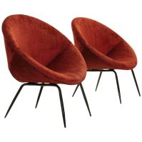 Set of Two Italian Mid-Century Red Velvet Lounge Chairs ...