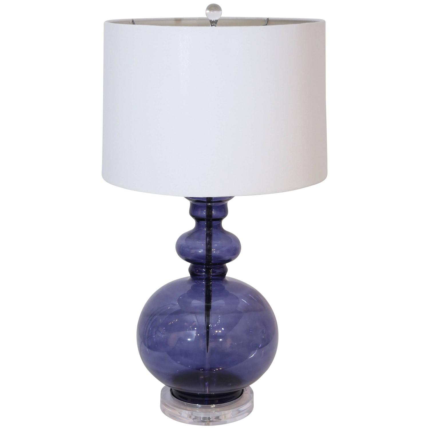 Blue Glass Lamp Gourd Table Lamp at 1stdibs