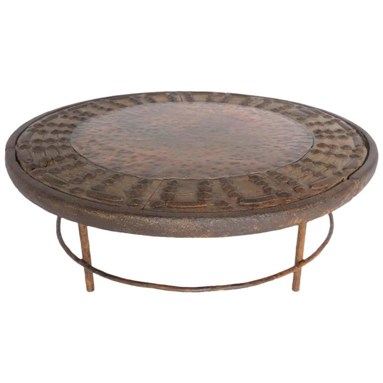 Rustic Round Copper Cocktail Table at 1stdibs