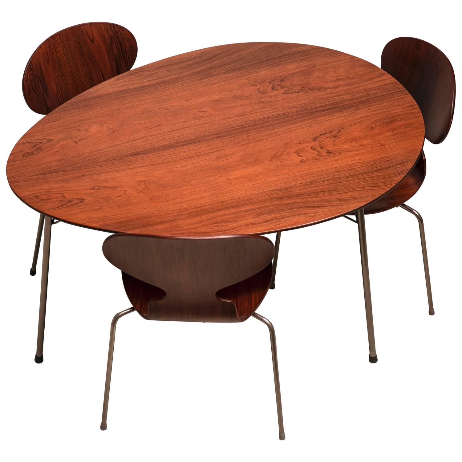 Arne Jacobsen Exceptional Early Brazilian Rosewood Egg Table And Ant Chairs By Arne Jacobsen