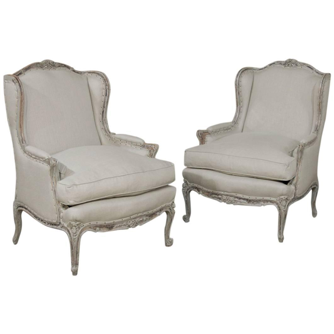 Overstuffed Wingback Chair Pair Antique French Louis Xv Painted Bergères Armchairs