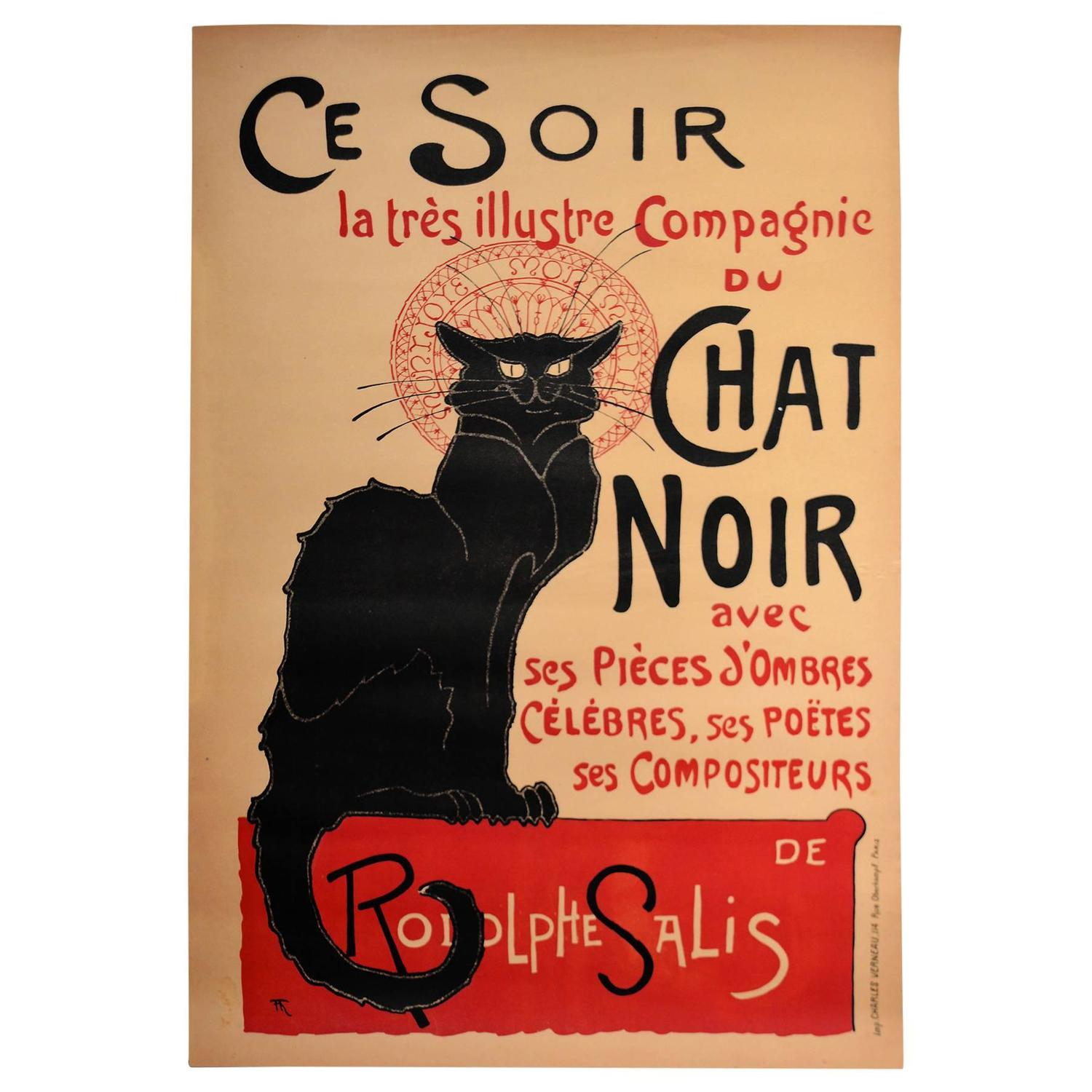 Poster Chat Le Chat Noir Cabaret Poster By Steinlen For Sale At 1stdibs