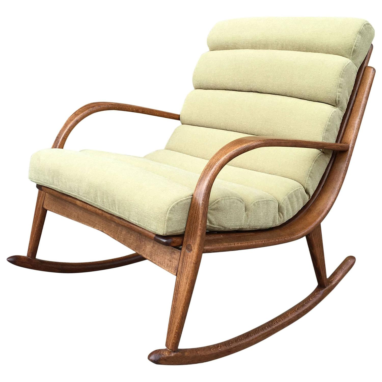 Upholstered Rocking Chair Extremely Rare Danish Modern Bentwood Upholstered Rocking