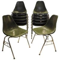 Mid-Century Modern Fiberglass Stacking Chairs at 1stdibs