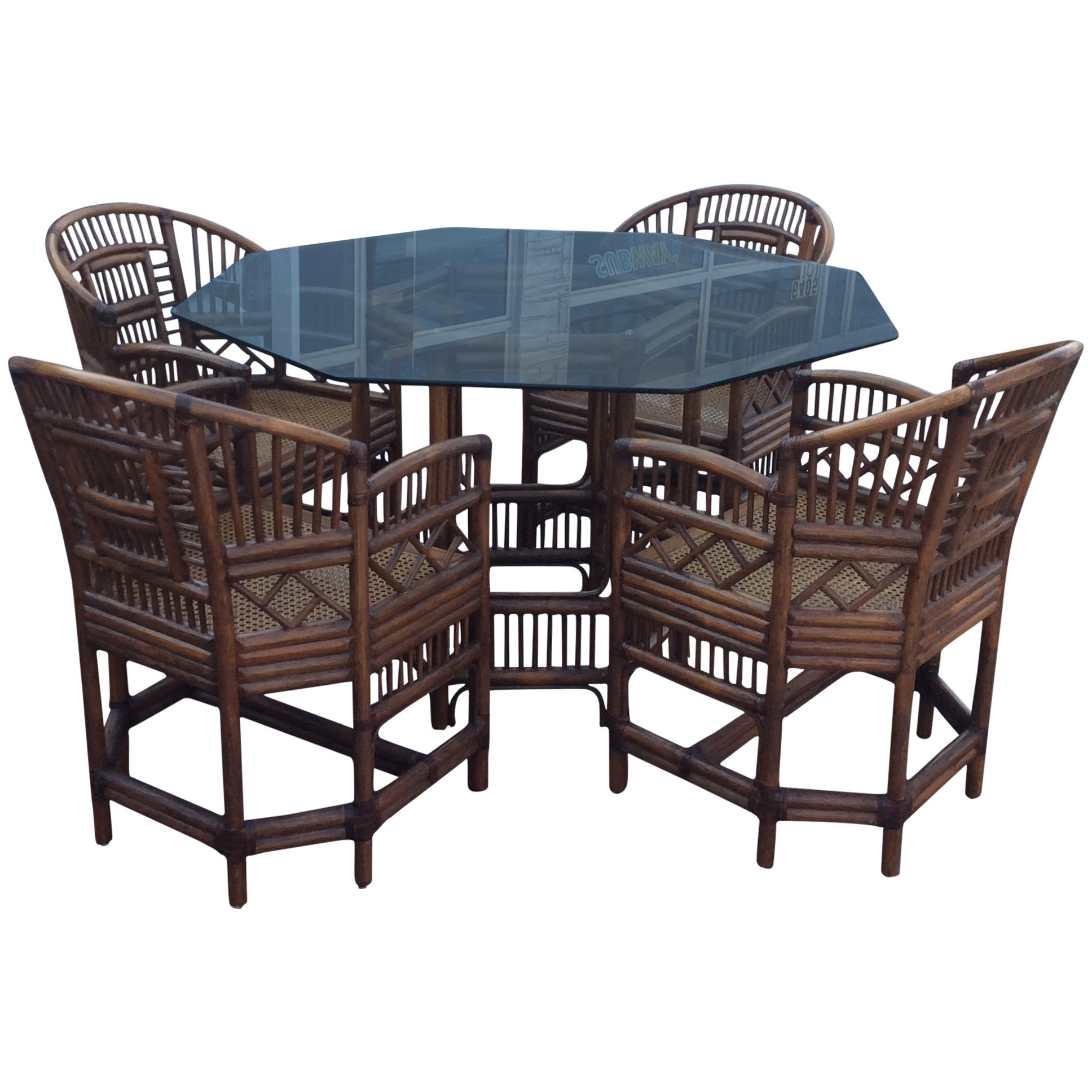 Rattan Table Brighton Style Rattan Dining Set Game Table Chinese Chippendale Four Chairs