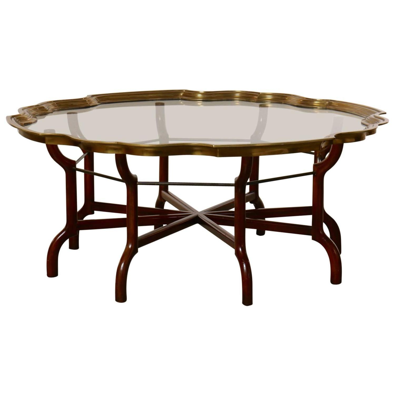Baker Coffee Table Round: Beautiful Baker Brass And Glass Round Tray Top Coffee