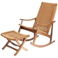 Woven Rope Mid-Century Modern Rocking Chair and Ottoman at ...