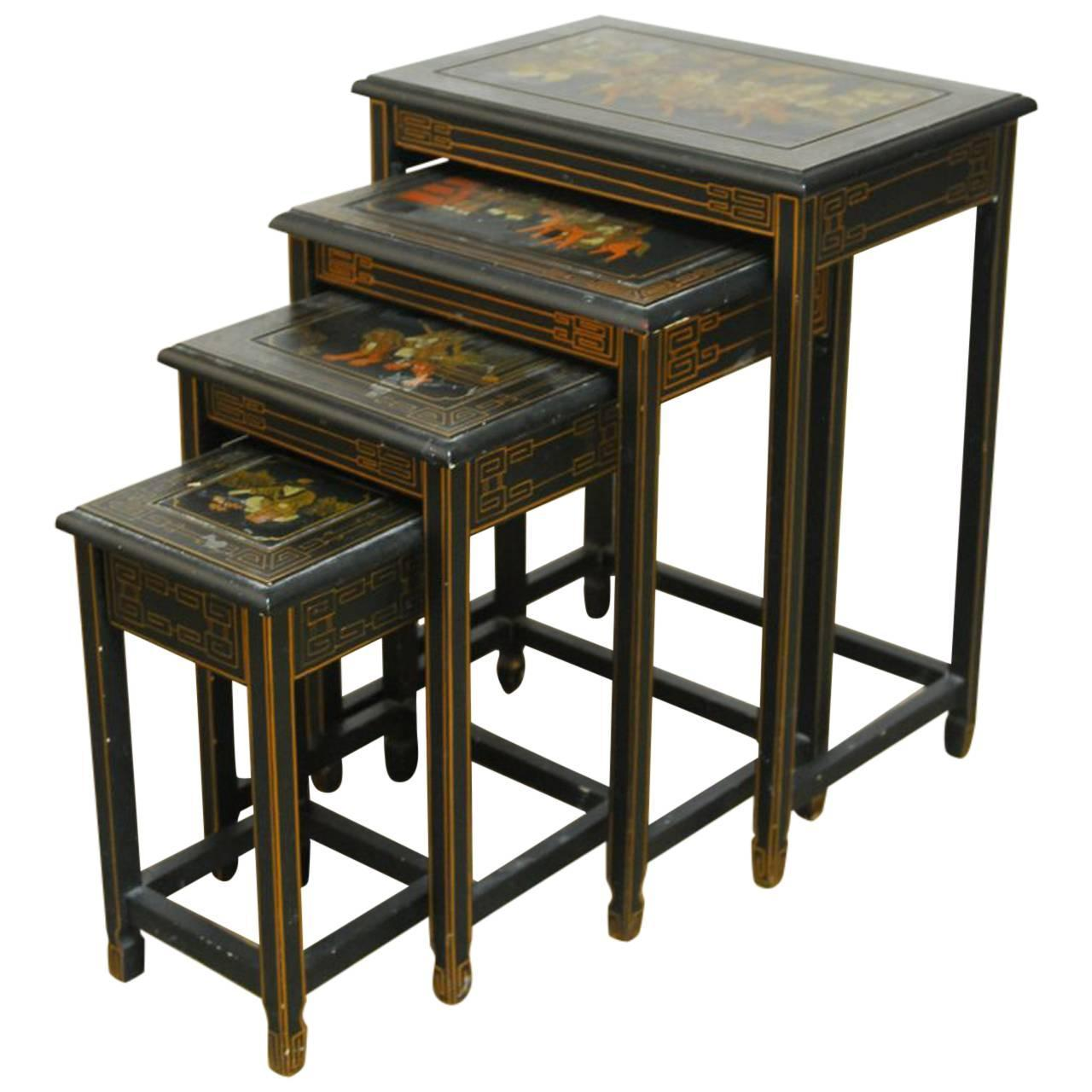 Asian Nesting Tables Set Of Four Chinese Black Lacquer Nesting Tables At 1stdibs
