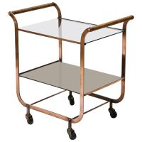 French Copper Bar Cart with Wrapped Rattan Handles at 1stdibs