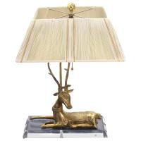 Brass Deer Sculpture Table Lamp on Lucite Base at 1stdibs