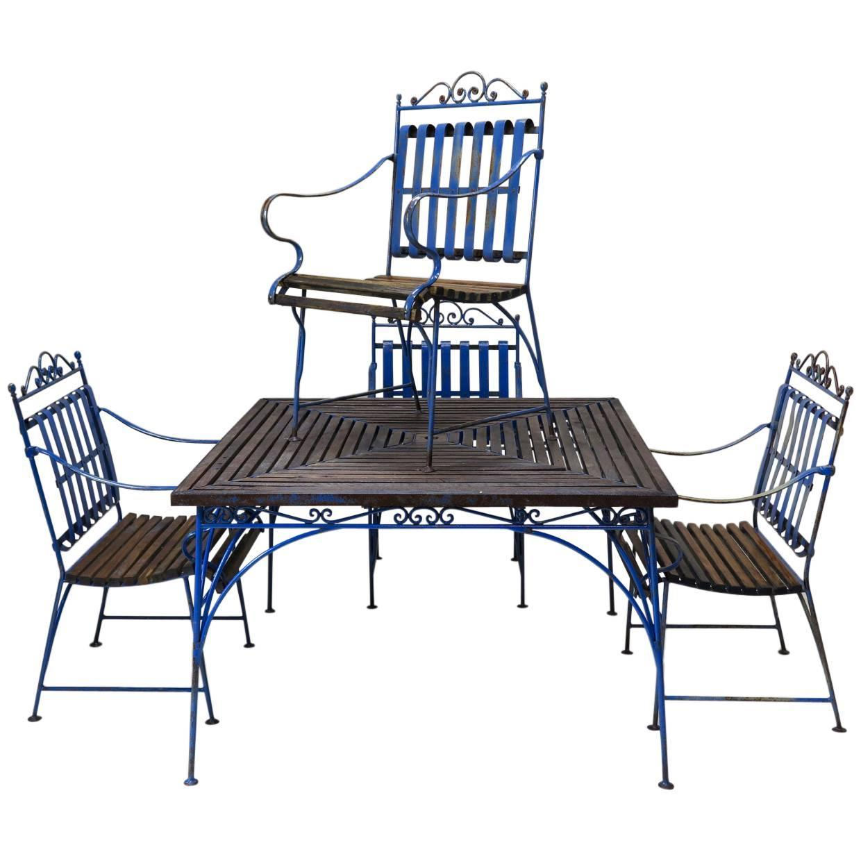 Salon De Jardin Made In France Lovely French 1930s Wrought Iron And Wood Garden Table With Four Armchairs