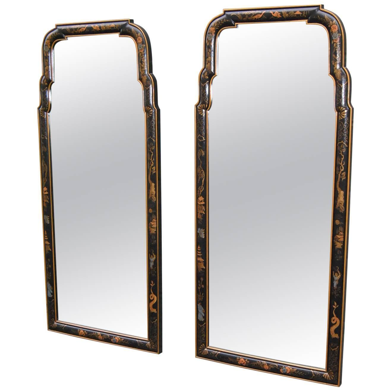 Asian Style Wall Mirrors Pair Of Asian Style Chinoiserie Drexel Mirrors Black With