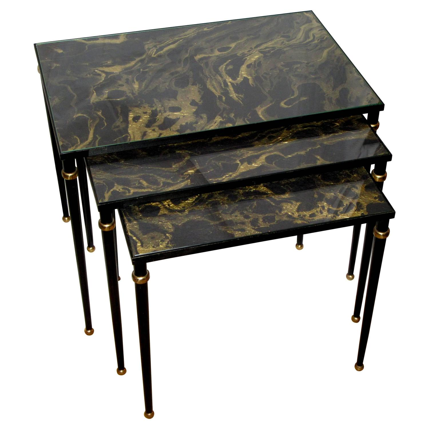 Black Metal Nesting Tables Set Of Mid Century Italian Glass Top Nesting Tables For