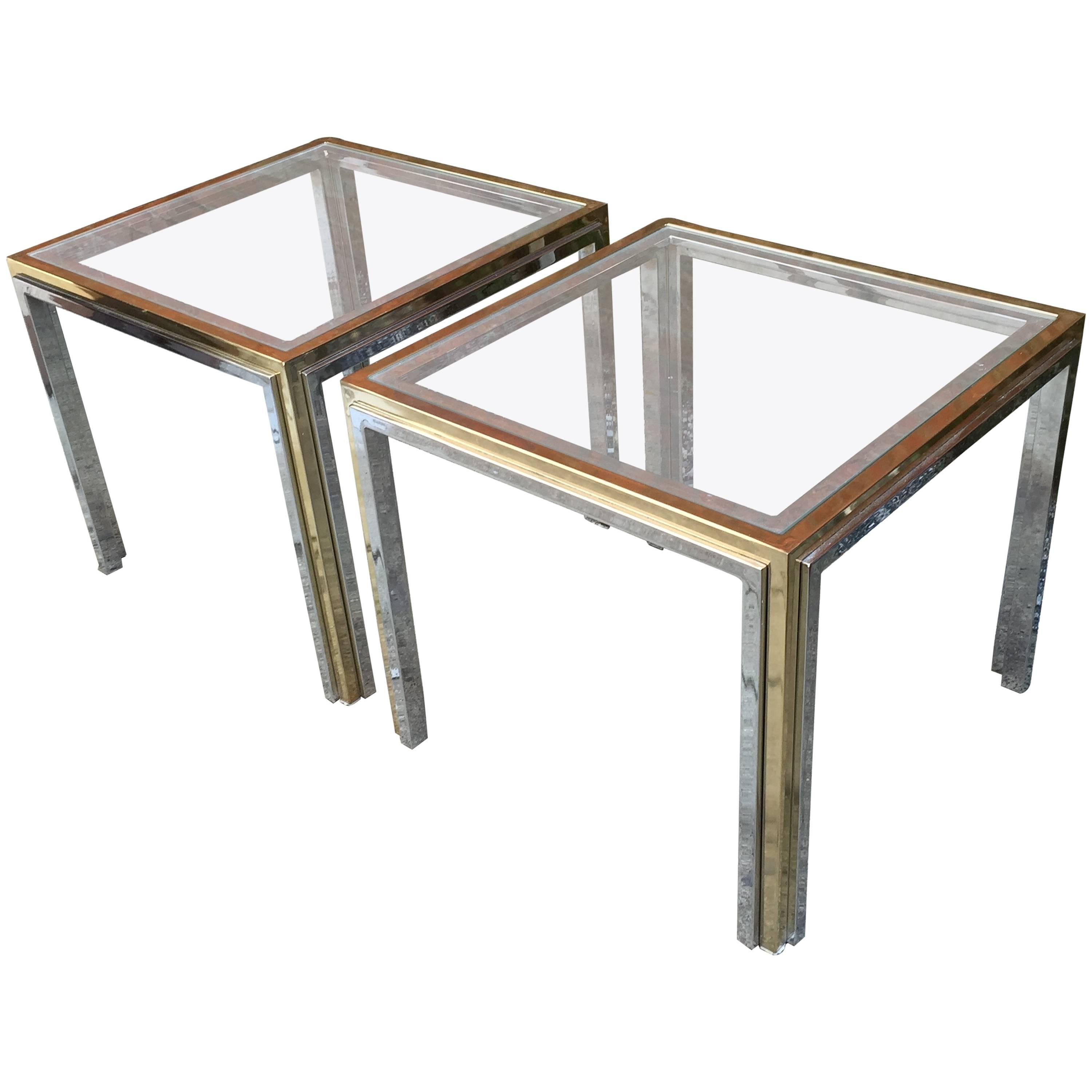 Metal Glass End Tables Romeo Rega Chrome Brass And Glass End Tables