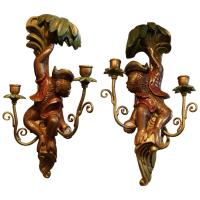 Whimsical Pair of Carved Wood Monkey Motif Sconces For ...