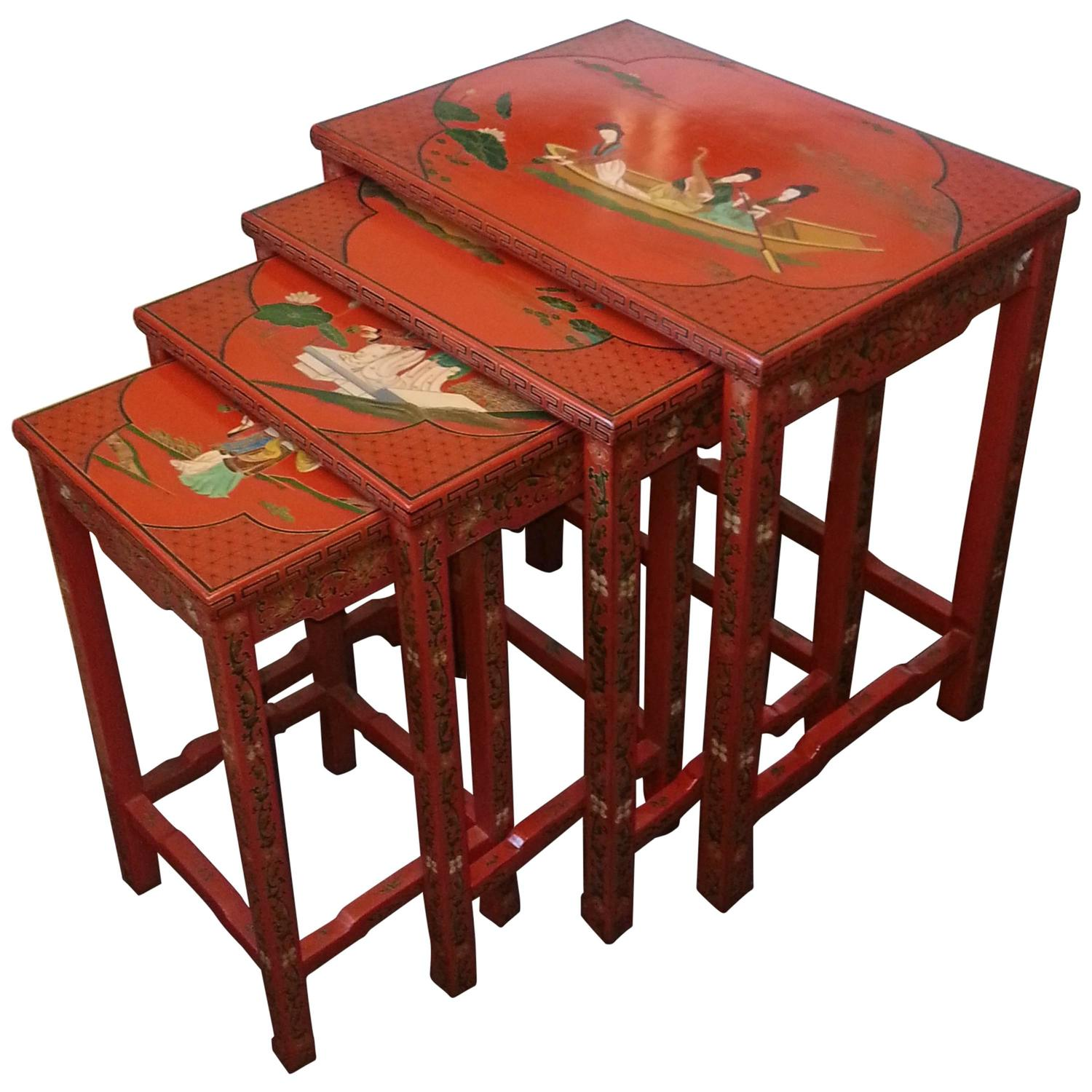 Asian Nesting Tables Set Of Four Hand Painted Lacquer Chinese Nesting Tables At