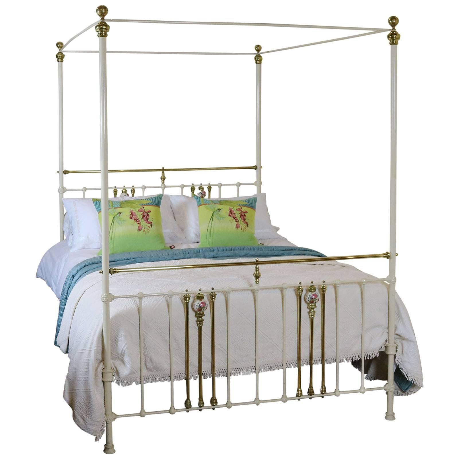 13c44b2f0508 Cream Metal Four Poster Bed