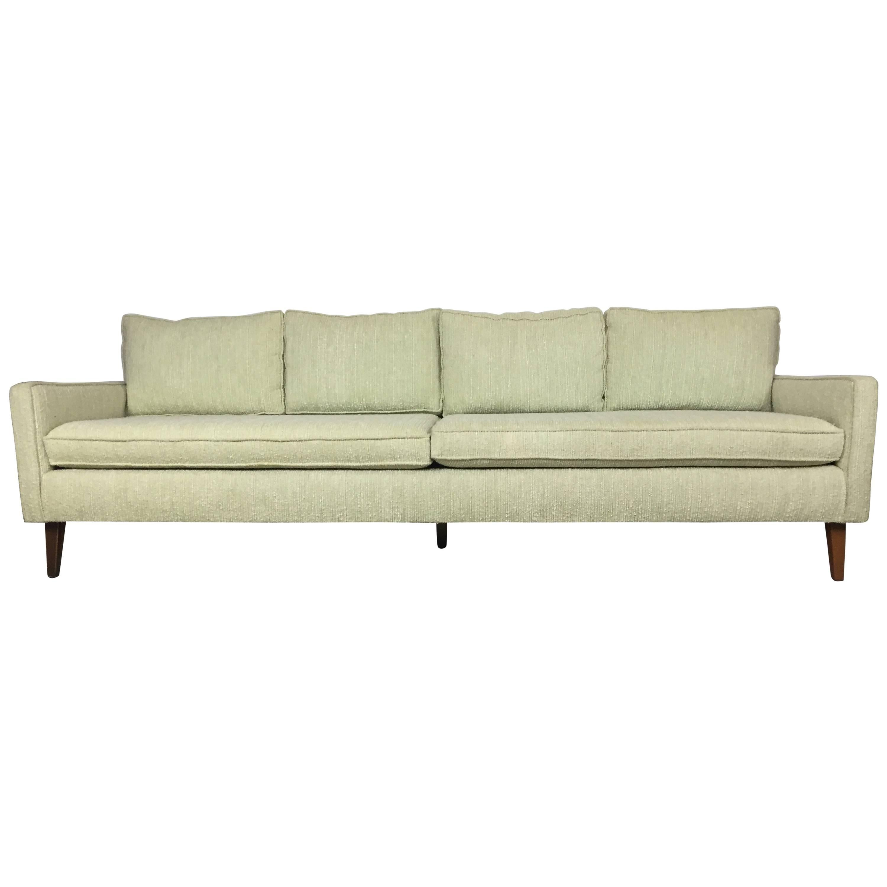 Sofa X Long Mid Century Celery Wool Boucle And Walnut Sofa And Chair Set