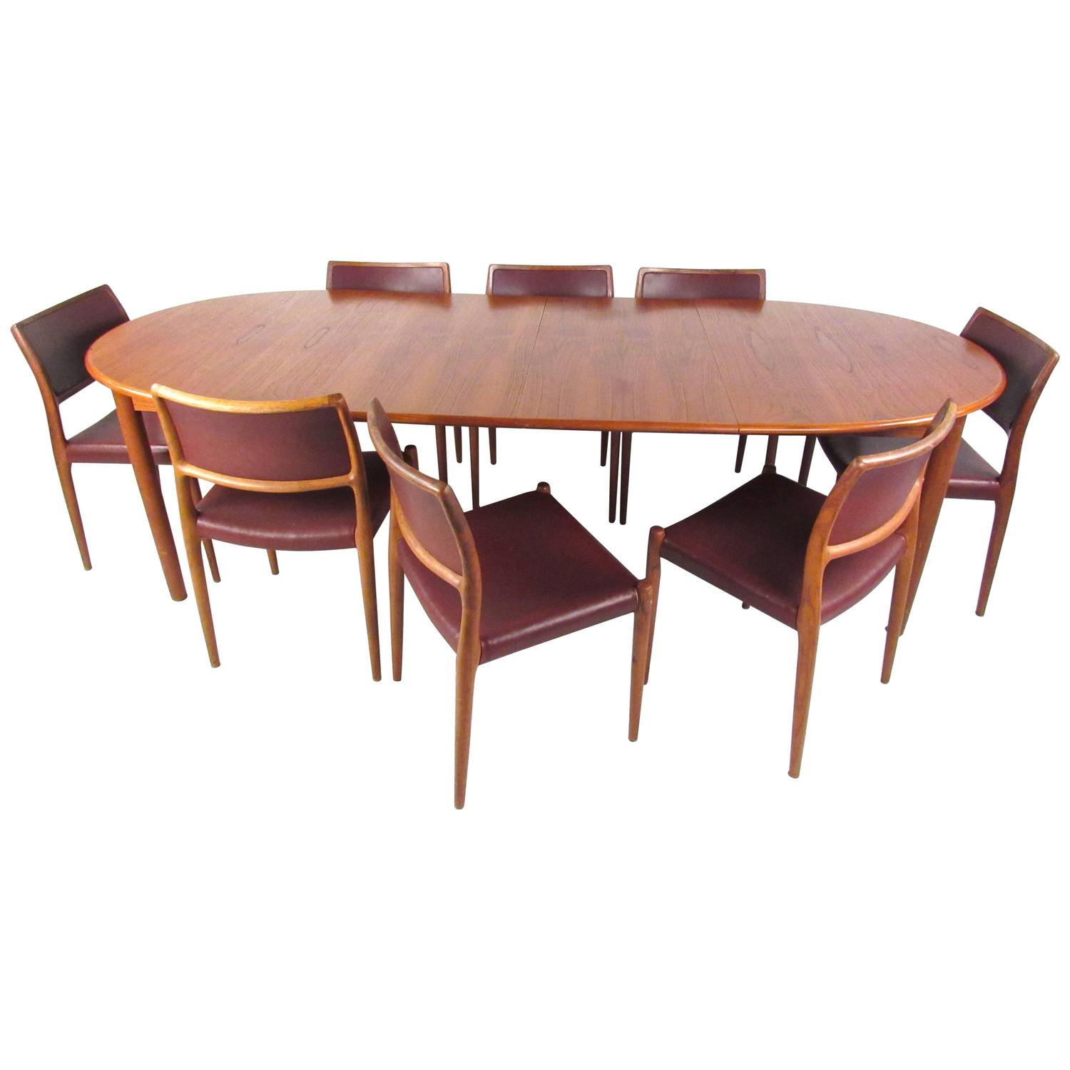 Danish Modern Dining Chairs For Sale Mid Century Modern Danish Teak Dining Set With Model 80 N O Moller Dining Chair