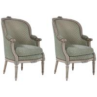 Pair of Louis XVI Blue and Grey Painted Upholstered ...