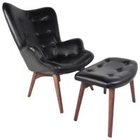 Mid-Century Style Wingback Lounge Chair with Ottoman For ...