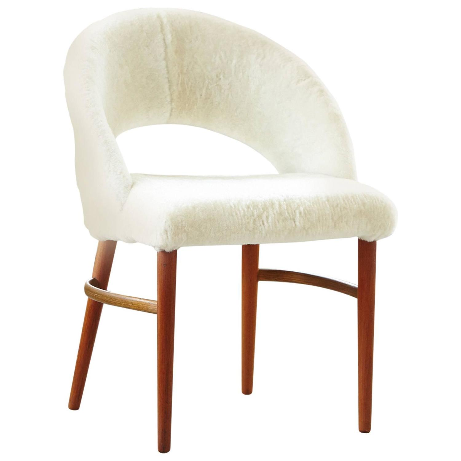 Comfortable Vanity Chair Vanity Or Accent Chair In Genuine Lambskin By Frode Holm