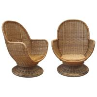Large Egg Shape Swivel and Tilt Rattan Chairs at 1stdibs